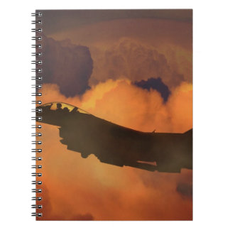 Air Plane Fighter Night Sky Moon Clouds Aircraft Notebook
