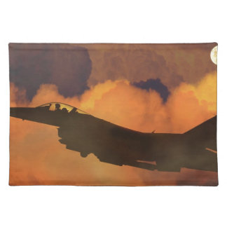 Air Plane Fighter Night Sky Moon Clouds Aircraft Placemat