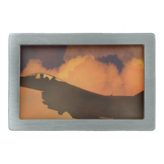 Air Plane Fighter Night Sky Moon Clouds Aircraft Rectangular Belt Buckle