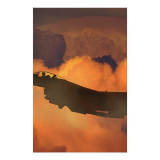 Air Plane Fighter Night Sky Moon Clouds Aircraft Stationery