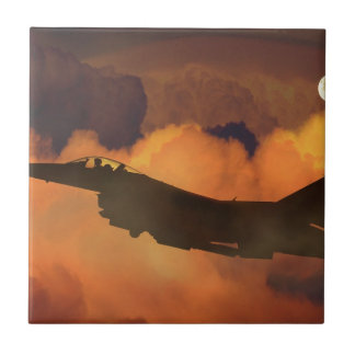 Air Plane Fighter Night Sky Moon Clouds Aircraft Tile
