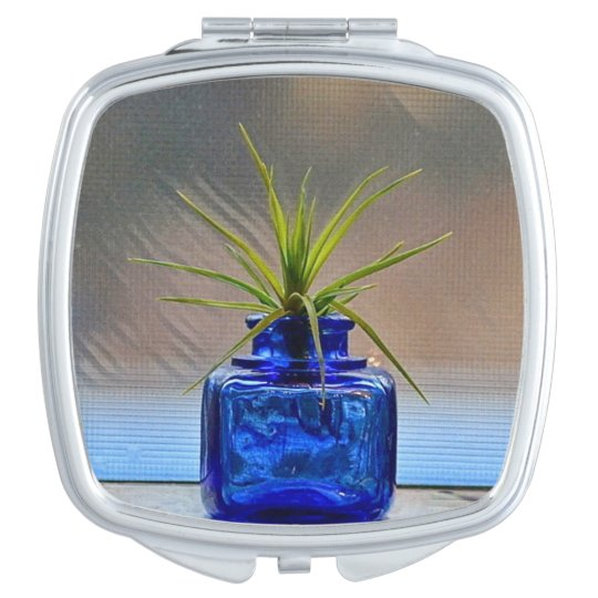 Air Plant In Cobalt Ink Well Compact Mirror