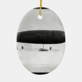 Air ship ceramic oval ornament