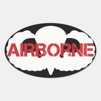 Airborne Crest on BLACK Oval Sticker