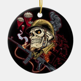 Airborne or Marine Paratrooper Skull with Helmet Ceramic Ornament