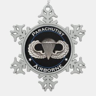 Airborne Parachutist Snowflake Pewter Christmas Ornament
