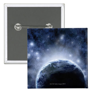 Airbrushed night sky full of stars around planet 2 inch square button