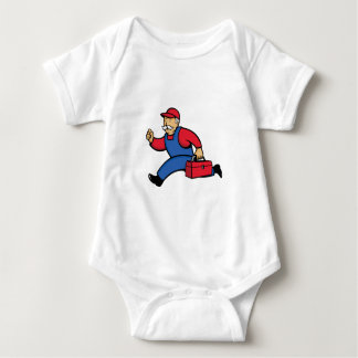 Aircon Technician Running Cartoon Baby Bodysuit