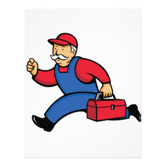 Aircon Technician Running Cartoon Letterhead