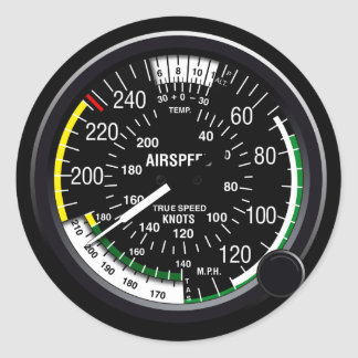 Aircraft Airspeed Indicator Gauge Classic Round Sticker
