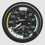 Aircraft Airspeed Indicator Gauge Classic Round Sticker
