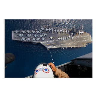 Aircraft Carrier as seen from Seahawk Helicopter Poster