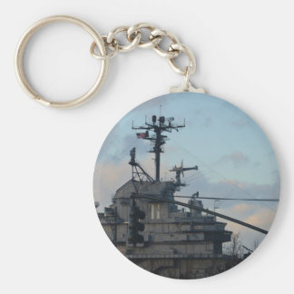 Aircraft Carrier In New York Basic Round Button Keychain