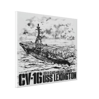 Aircraft carrier Lexington Wrappedcanvas Canvas Print