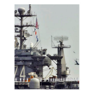Aircraft Carriers Helicopters Ships Navy Sailors Postcard
