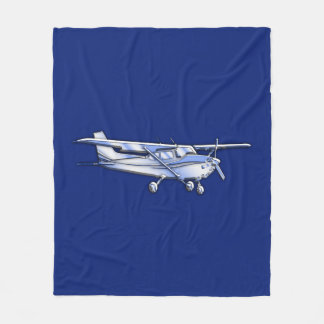 Aircraft  Chrome Cessna Silhouette Flying on Blue Fleece Blanket
