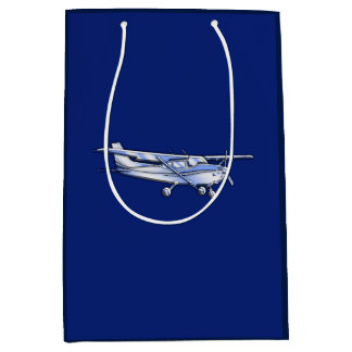 Aircraft  Chrome Cessna Silhouette Flying on Blue Medium Gift Bag