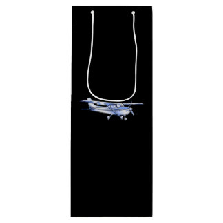 Aircraft Classic Cessna Silhouette Flying on Black Wine Gift Bag
