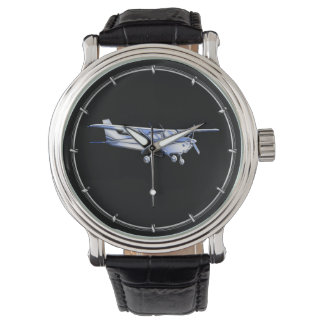 Aircraft Classic Cessna Silhouette Flying on Black Wrist Watch