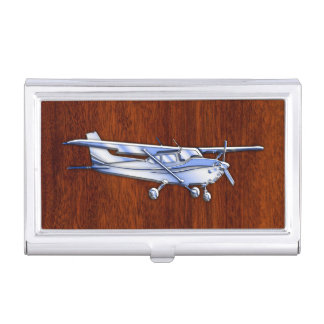 Aircraft Classic Chrome Cessna Flying Mahogany Business Card Holder