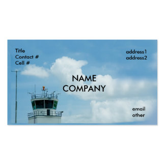 aircraft control tower on blue sky business card template