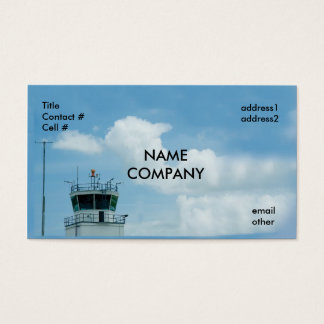 aircraft control tower on blue sky business card