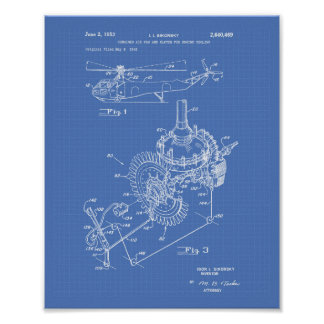 Aircraft Engine 1953 Patent Art Blueprint Poster