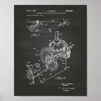 Aircraft Engine 1953 Patent Art Chalkboard Poster