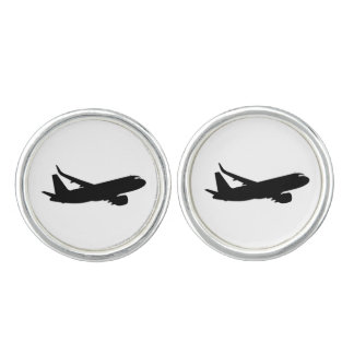 Aircraft Jet Liner Silhouette Flying Decor Cuff Links