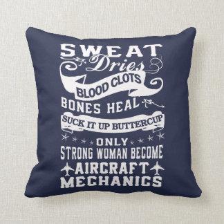 Aircraft Mechanic Woman Throw Pillow