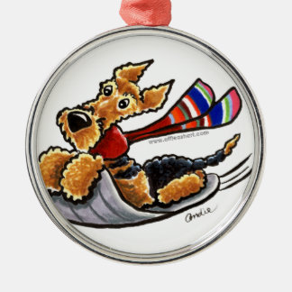 Aire-Sledding Airedale Terrier Silver-Colored Round Ornament