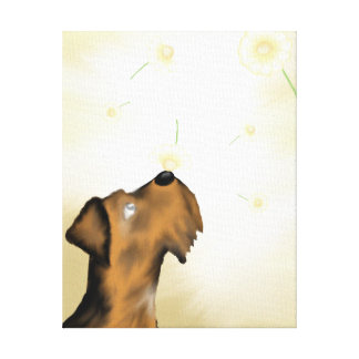Airedale and Daisies Original Art Print