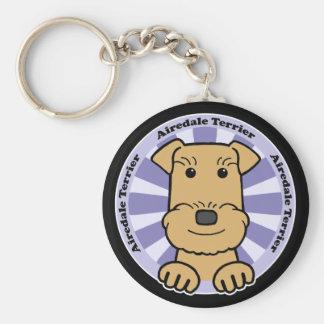 Airedale Basic Round Button Keychain