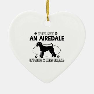 AIREDALE best friend designs Ceramic Heart Ornament