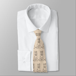 Airedale Cartoon Sketch - Sweet Terrier Themed Tie