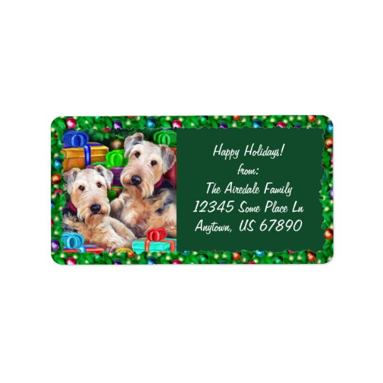 Airedale Christmas Open Now Label