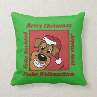Airedale Christmas Throw Pillow