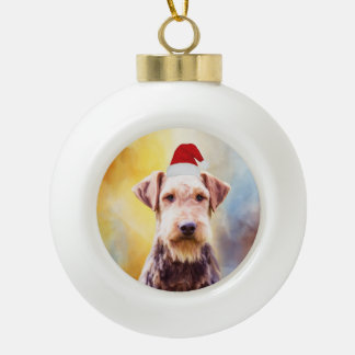 Airedale Dog Christmas Santa Hat Art Portrait Ceramic Ball Christmas Ornament