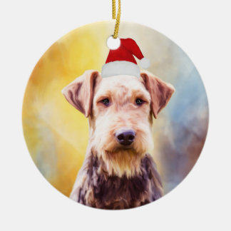 Airedale Dog Christmas Santa Hat Art Portrait Ceramic Ornament