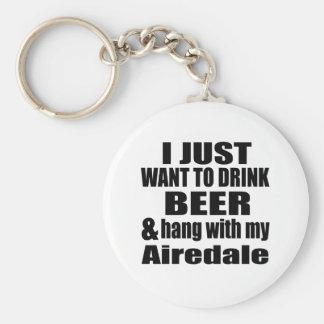 Airedale Dog Designs Basic Round Button Keychain