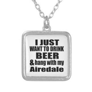 Airedale Dog Designs Silver Plated Necklace