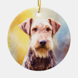 Airedale Dog Watercolor Art Portrait Ceramic Ornament