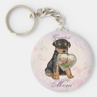 Airedale Heart Mom Basic Round Button Keychain