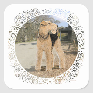 Airedale in the Stable Yard Square Sticker