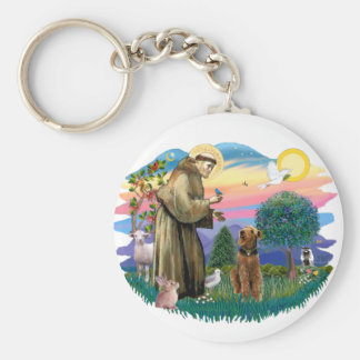 Airedale (looking up) basic round button keychain