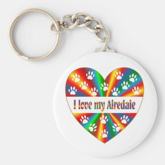 Airedale Love Basic Round Button Keychain