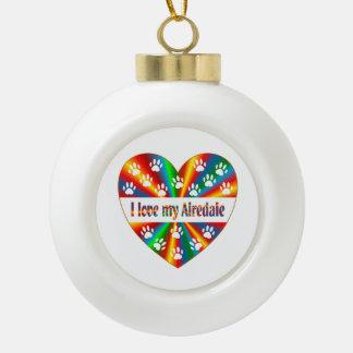 Airedale Love Ceramic Ball Ornament