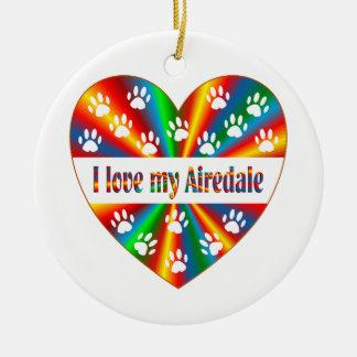 Airedale Love Round Ceramic Ornament