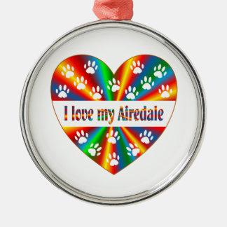 Airedale Love Silver-Colored Round Ornament