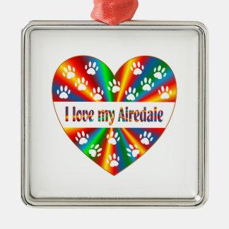 Airedale Love Silver-Colored Square Ornament